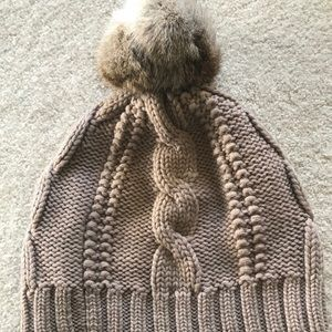 Tory Burch merino wool winter Pom Pom hat